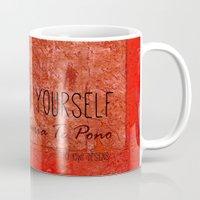 maori Mugs featuring Believe in Yourself - Maruia Te Pono - Maori wisdom quote in red by Sonia Therese Design