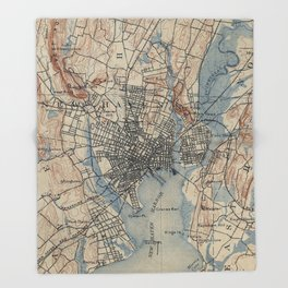 Vintage Map of New Haven Connecticut (1890) Throw Blanket