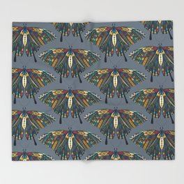 swallowtail butterfly indigo Throw Blanket