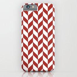 Herringbone (Maroon & White Pattern) iPhone Case