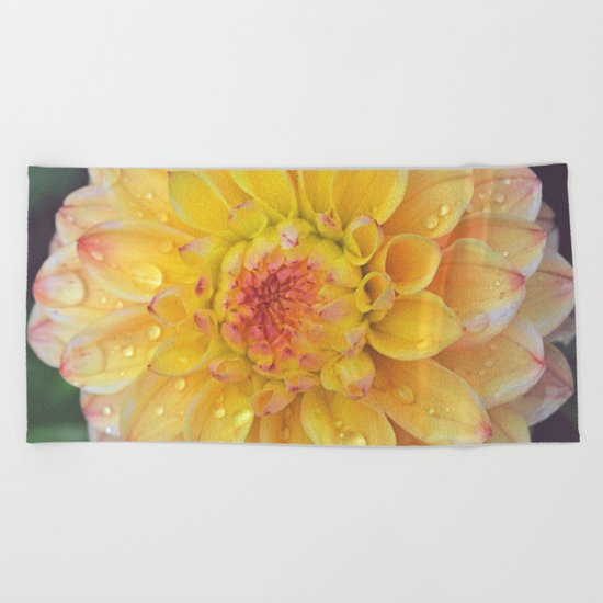 Pretty Yellow Dahlia Beach Towel