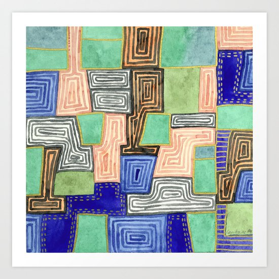 Complex Pattern with Golden Lines Art Print