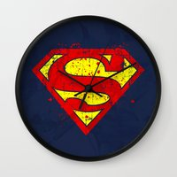 nightwing Wall Clocks featuring Super Man's Splash by Sitchko Igor