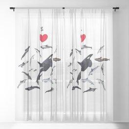 I love dolphins Sheer Curtain