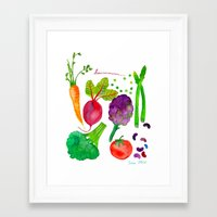 vegetables Framed Art Prints featuring Vegetables by Frau Ottilie Illustration
