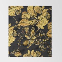 gold garden at night Throw Blanket