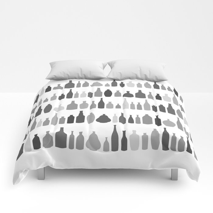 Bottles Black and White on White Comforters