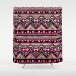 Cross Stitched Boho Shower Curtain