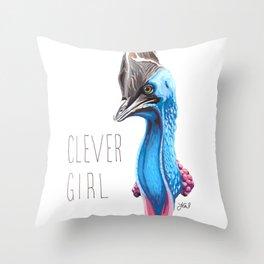 Clever Girl (Cassowary) Throw Pillow
