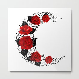 Moon of Red Roses Metal Print