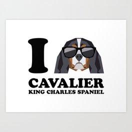 I Love Cavalier King Charles Spaniel modern v1 Art Print