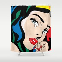 comics Shower Curtains featuring  comics by mark ashkenazi