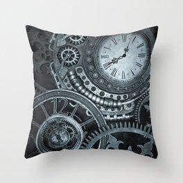 Silver Steampunk Clockwork Throw Pillow