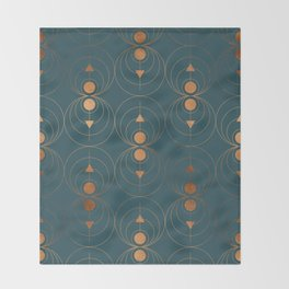 Copper Art Deco on Emerald Throw Blanket