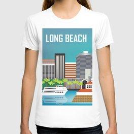 Long Beach, California - Skyline Illustration by Loose Petals T-shirt