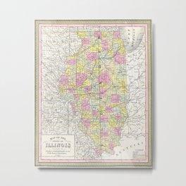 Vintage Map of Illinois (1850) Metal Print