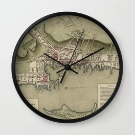 Map of Newport 1777 Wall Clock