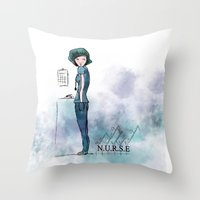 nurse Throw Pillows featuring Nurse  by Ginkelmier