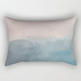 Turquoise Aqua Teal Blue Coral Rose Pink Abstract Painting, Modern Wall Art, Ocean Sunset Sand Beach Rectangular Pillow