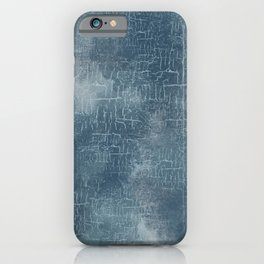 Abstract Grunge Art in Slate Blue and Gray iPhone Case