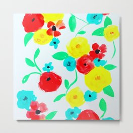 Bright Floral in Red, Yellow and Turquoise Metal Print