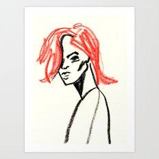 red hair girl 02 Art Print