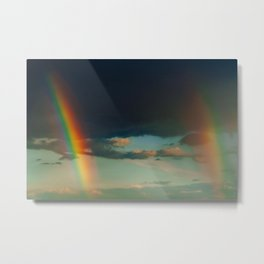 Double Rainbow After Heavy Rain, LGBT Rainbow, Freedom Colors, Wall Art Print, Large Print Art Metal Print