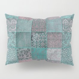 Nostalgic Patchwork Pattern Teal And Pink Pillow Sham