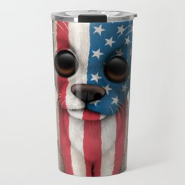 Cute Puppy Dog with flag of The United States Travel Mug