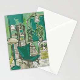 Cozy apartment with flowers/plants and books Stationery Cards