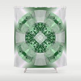 Microchip Mandala in Green Shower Curtain