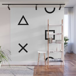 Playstation Controller Pattern (Black on White) Wall Mural