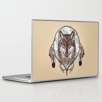 gray Laptop & iPad Skins featuring Gray Wolf by Rachel Caldwell