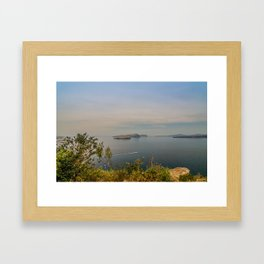 Beautiful landscape with sea view of the Nea Kameni, a small Greek island in the Aegean Sea near San Framed Art Print
