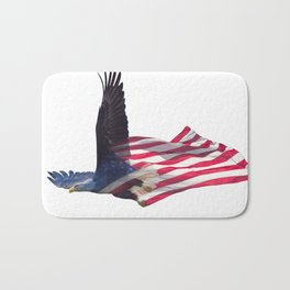 Double exposure effect of north american bald eagle on american flag. Bath Mat