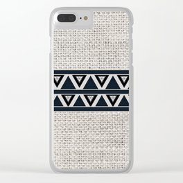 Southwestern Burlap and Navy Blue Pattern Design Clear iPhone Case