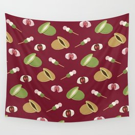 Japanese sweets (Burgundy) Wall Tapestry