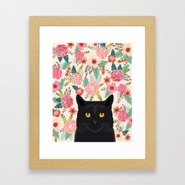 Black Cat florals spring summer animal portrait pet friendly cat lady gifts for her or him cute cats Framed Art Print