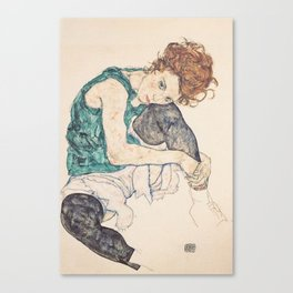 SEATED WOMAN WITH BENT KNEE - EGON SCHIELE Canvas Print