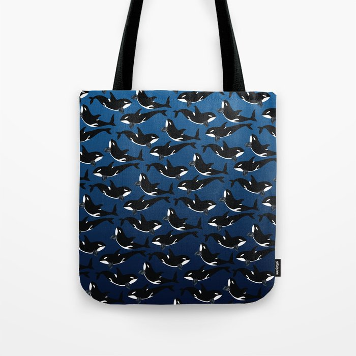 Orca Whale - Dark Blue Spinel Tote Bag