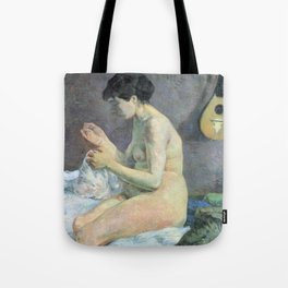 """Paul Gauguin - Study of a nude """"suzanne sewing"""" (1880) Tote Bag"""