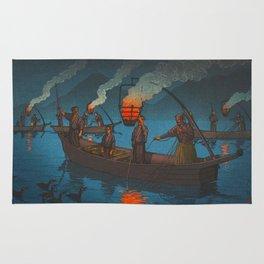 Beautiful Vintage Japanese Woodblock Print Japanese Fisherman Flame Torch Rug