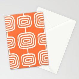 Mid Century Modern Atomic Rings Pattern 771 Orange Stationery Cards