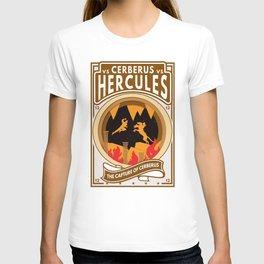 Hercules Versus Cerberus Twelfth Labor Paper Cutout Boxing Style T-shirt