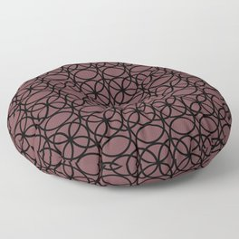 Pantone Red Pear  and Black Rings Circle Heaven 2, Overlapping Ring Design Floor Pillow