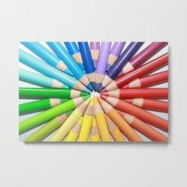 Colored pencils background design Metal Print