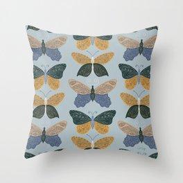 Tattooed Butterflies – Blue & Yellow Throw Pillow