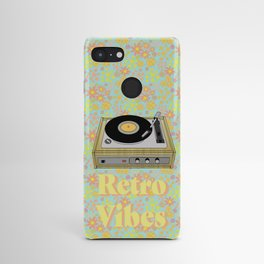 Retro Vibes Record Player Design in Yellow Android Case