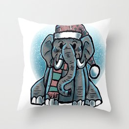 The Merry Elephant Throw Pillow
