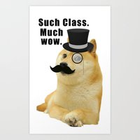 doge Art Prints featuring Classy Doge by Tayler Smith